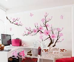 Pink Flower Wall Decals Cherry Blossom Vinyl Wall Decals Tree Office Wedding Wall Murals Nursery Wall Sticker Huge Magnolia Z180 Cuma Nursery Wall Murals Vinyl Tree Wall Decal Vinyl Wall Decals