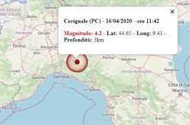 Terremoto in Emilia Romagna oggi, 16 aprile 2020, scossa M 4.2 ...