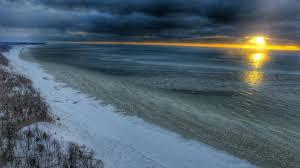 sunset over lake michigan hd wallpaper