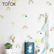 Tofok 18 24 Pcs Set Cartoon Rainbow Wall Sticker Transparent Pvc Children Room Mural Wall Decals Baby Room Decoration Supplier Wall Stickers Aliexpress