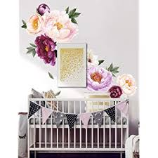 Amazon Com Haokhome W 10704 Large Peony Flowers Wall Sticker For Nursery Bedroom Living Room Wall Decor Computers Accessories