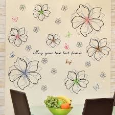 Living Room Bedroom Bedside Wall Stickers Romantic Love Flower Decals Sofa Tv Background Wall Decoration Wallpaper Self Adhesive