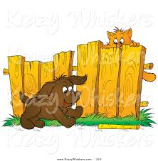 Critter Clipart Of A Scared Brown Kitty Hanging From A Fence Watching A Puppy Fetch A Stick By Alex Bannykh 210