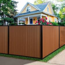 Terrafence Mesa 6 Ft X 8 Ft Timber Brown Black Composite Steel Fence Panel With Posts Rails And Hardware Kit Mesafence6x8tb Blk The Home Depot Steel Fence Panels Fence Panels Steel Fence