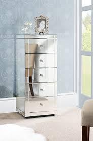 julianna mirrored tallboy 5 drawer