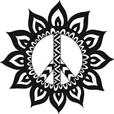 Amazon Com Cute Pretty Mandala Flower Peace Sign Black And White Vinyl Decal Sticker 12 Wide Automotive