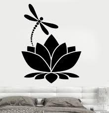 Lotus Flower Dragonfly Vinyl Wall Sticker Home Decor Meditation Yoga Studio Room Decoration Wall Decals Girls Bedroom Mural H002 Vinyl Wall Stickers Decorative Wall Decalwall Sticker Aliexpress