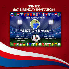 Fifa World Cup Russia 2018 Birthday Party Invitation Printed