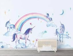 Hand Painted Cartoon Unicorns And Rainbow Design Wallpaper Kids Mural Beddingandbeyond Club