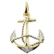 vintage 14k yellow gold diamond anchor