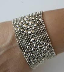 liquid metal silver mesh cuff bracelet