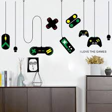 Amazon Com Mikilon Gamer Wall Stickers I Love The Games Gaming Controller Joystick Playroom Bedroom Living Room Wall Decals Removable Vinyl Art Mural Decor For Boys Kids Men Colorful