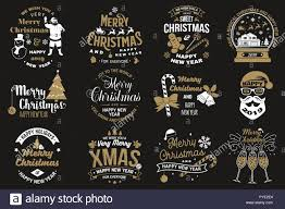 set of merry christmas and happy new year stamp sticker set