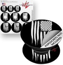 Decal Style Vinyl Skin Wrap 3 Pack For Popsockets Brushed Usa American Flag