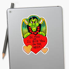Vampire Dracula Sticker Vinyl Decal Decor Vintage Retro Valentine S Day Card Inspired Gift For Diecut Halloween Spooky Bite Be Mine Sold By Canis Picta Fine Pop Art On Storenvy