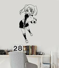 Vinyl Wall Decal Teen Anime Girl With Soccer Ball Sports Art Stickers Ig5425 Ebay