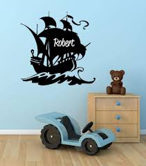 Amazon Com Boys Pirate Ship Personalized Custom Name Vinyl Wall Decal 28 H By 28 W Boys Room Decor Personalized Boys Room Decor Nursery Decor Pirate Ship Wall Stickers Plus Free Hello Door