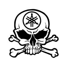 Yamaha Racing Skull Crossbones Vinyl Decal Sticker
