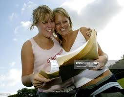 Jess Ives who got 4 A's and Verity Marshall who got 3 A's celebrate... News  Photo - Getty Images