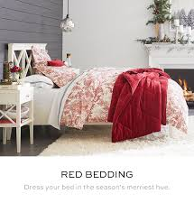 twin red bedding pottery barn