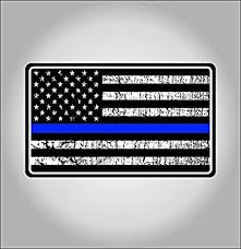 Amazon Com Police Blue Thin Line Usa Flag Decal American Flag Sticker Grunge Distressed Blue Stripe For Cars And Trucks For Honor And Support Of Our Officers Vinyl Window Bumper 5 X 3