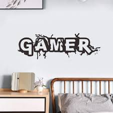 Amazon Com Gamer Wall Decals For Kid Room Wall Sticker Murals For Boys Bedroom Playroom Wall Stickers Decals Home Decoration Game A Arts Crafts Sewing