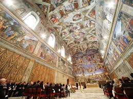 see beautiful art inside the sistine chapel