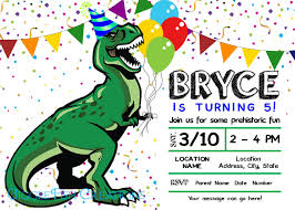 Dinosaur Birthday Party Invitation T Rex Party Hat Fiesta De