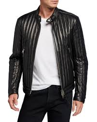 vertical channel leather racer jacket