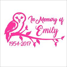 Amazon Com In Memory Owl On Branch Memorial Vinyl Die Cut Decal Sticker For Car Laptop Etc Handmade
