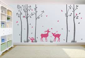 Trees Deers Birds Butterflies Wall Decal Wall Art Graphic Decal Nuovocreations