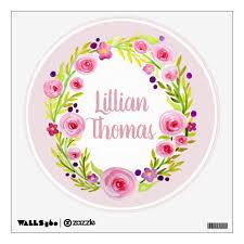 Baby Girl S Watercolor Flower Wreath Name Nursery Wall Sticker Zazzle Com