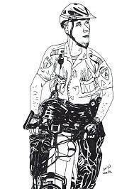Pentekening Van Een Agent Patrouillerend Op Een Fiets Getekend