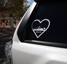 A Car Window Decal That Show The Las Vegas Strip Outline As Well As The Date Of The Mass Shooting That Killed 58 People Near The Art In The Park Festival In