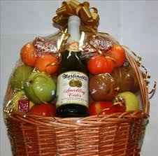 fruit basket with cider by eastern