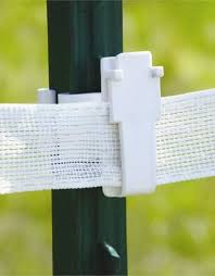 Electric Fence Insulator T Post Wide Tape White Wagon Wheel