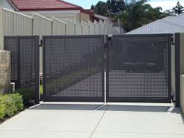 Double Swing Gate Perforated 2 Jpg 960 720 Metal Fence Panels Metal Fence Gates Steel Fence Panels