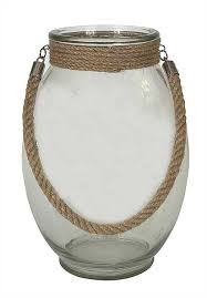 oval glass container with rope handle