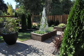 Beautiful Garden Obelisk In Landscape Craftsman With Raised Bed Next To Deer Fence Alongside Wire Trellis And Hog Wire Fencing