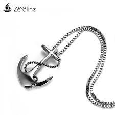 navy anchor necklace pendant