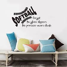 Amazon Com Vinyl Wall Statement Family Diy Decor Art Stickers Home Decor Wall Art Softball Forget The Glass Slippers For Kid Girls Bedroom Or Play Room Home Decor Home Kitchen
