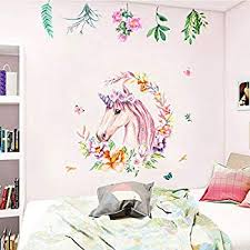 Non Toxic Unicorn Wall Decal Sticker Vinyl Girls Bedroom Wall Decor Removable Baby Room Wall Mural Sticker Unicorn Gift For Birthday Party Favors Leaf Walmart Com Walmart Com