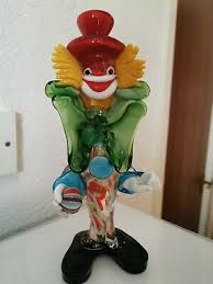 murano italian art glass clown approx