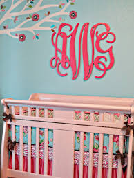 pink and aqua monogram nursery
