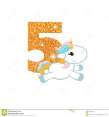 Numero Del Aniversario Del Cumpleanos Con Unicornio Lindo