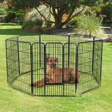 Pawhut 8 Panel Pet Playpen 24 Inch Indoor Outdoor Heavy Duty Iron Dog Exercise Pen Cat Fence Black Houses Kennels Pens Aosom Canada