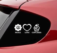 Peace Love Cupcakes Vinyl Decal Sticker Bumper Funny Baking Bakery Car Cute Cake Peace And Love Love Cupcakes Bumper Stickers