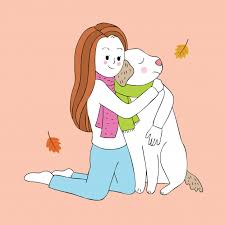 cartoon cute woman hug dog vector