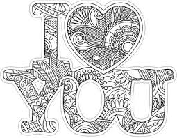 I Love You Diecut Coloring Card Kleurplaten Zendoodle