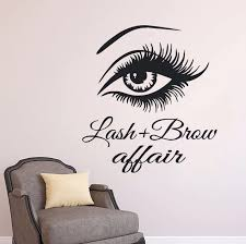 Eyelash Eyebrow Wall Sticker Beauty Salon Decoration Long Eyelashes Wall New Design Vinyl Eyelashes Art Mural Free Shipping Wall Stickers Aliexpress